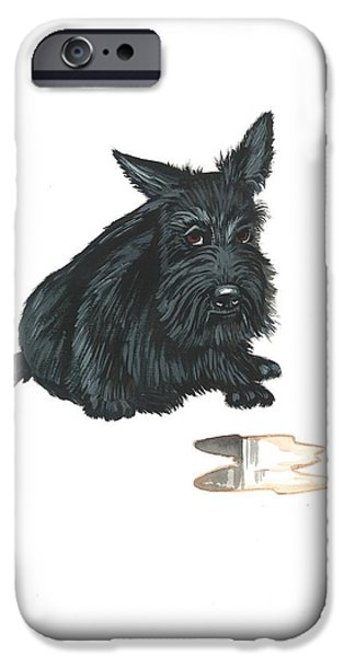 Scottish Terrier Watercolor iPhone Cases - Guilty iPhone Case by Margaryta Yermolayeva
