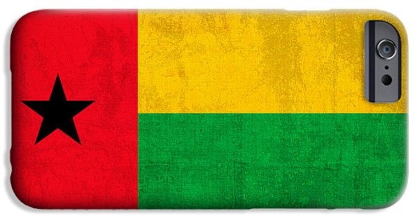 Nation iPhone Cases - Guinea Bissau Flag Vintage Distressed Finish iPhone Case by Design Turnpike