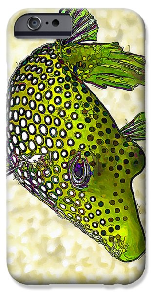 Guinea Fowl Puffer Fish in Green iPhone Case by Bill Caldwell -        ABeautifulSky Photography