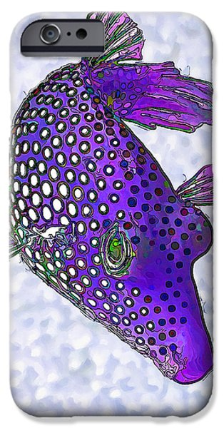 Meleagris iPhone Cases - Guinea Fowl Puffer Fish in Purple iPhone Case by Bill Caldwell -        ABeautifulSky Photography