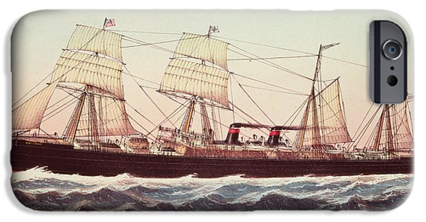 Nineteenth iPhone Cases - Guion Line Steampship Arizona of the Greyhound Fleet iPhone Case by Currier and Ives