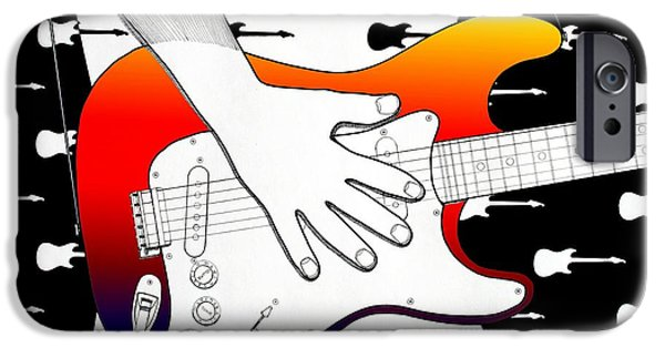 Stratocaster Drawings iPhone Cases - Guitar 1 iPhone Case by Joseph J Stevens
