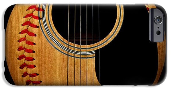 Baseball iPhone Cases - Guitar Baseball Square iPhone Case by Andee Design