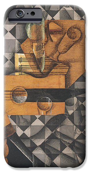 Sheets iPhone Cases - Guitar, Bottle, And Glass, 1914 Pasted Papers, Gouache & Crayon On Canvas iPhone Case by Juan Gris