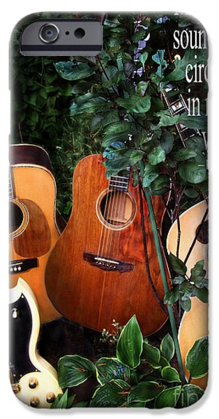 Henry David Thoreau iPhone Cases - Guitar Garden iPhone Case by Lance Theroux