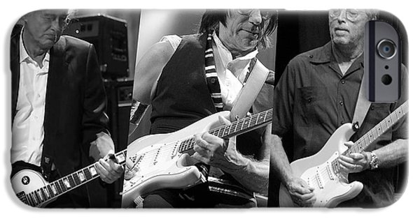 Page iPhone Cases - Guitar Legends Jimmy Page Jeff Beck and Eric Clapton iPhone Case by Marvin Blaine