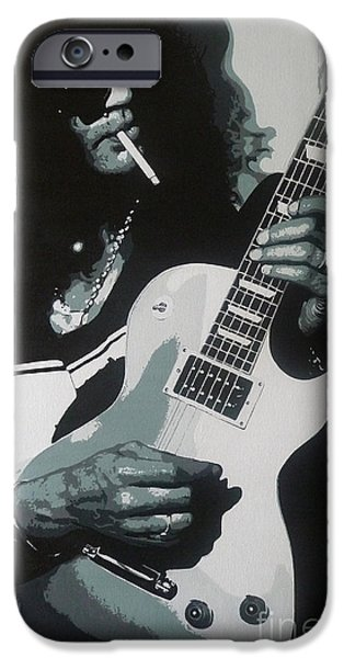 Slash Paintings iPhone Cases - Guitar Man iPhone Case by ID Goodall