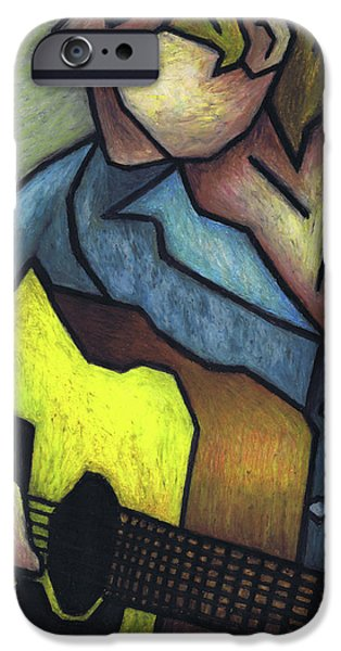 Fine Art Abstract Pastels iPhone Cases - Guitar Man iPhone Case by Kamil Swiatek