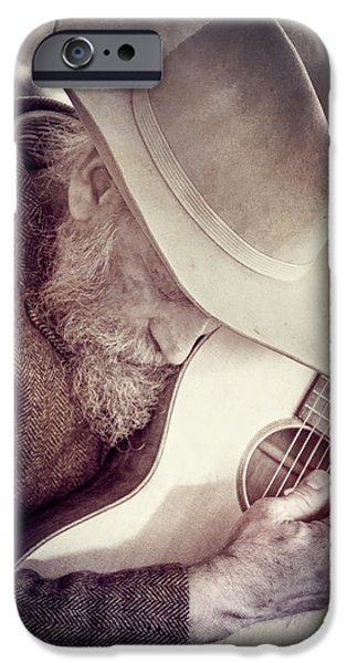 Gray Hair iPhone Cases - Guitar Man iPhone Case by Steven Bateson