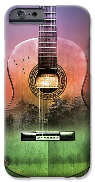 Animation iPhone Cases - Guitar Nature  iPhone Case by Mark Ashkenazi