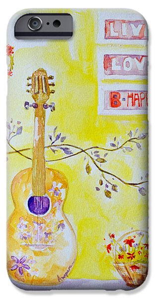 Lilacs Drawings iPhone Cases - Guitar of a Flower Girl Live Love Be Happy iPhone Case by Patricia Awapara