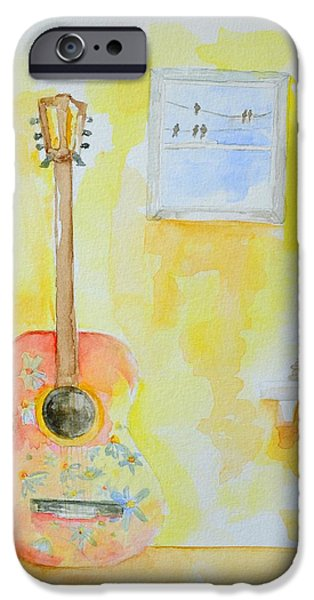 Red Rock Drawings iPhone Cases - Guitar of a Flower Girl with a touch of Zen iPhone Case by Patricia Awapara