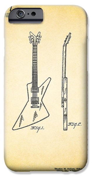 Music Photographs iPhone Cases - Guitar Patent 1958 iPhone Case by Mark Rogan