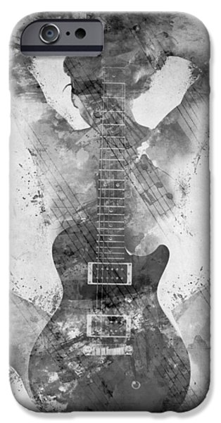 Papers iPhone Cases - Guitar Siren in Black and White iPhone Case by Nikki Smith