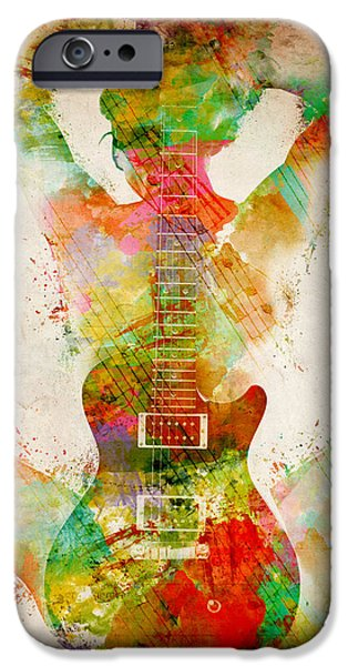 Papers iPhone Cases - Guitar Siren iPhone Case by Nikki Smith
