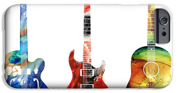 Fish Mixed Media iPhone Cases - Guitar Threesome - Colorful Guitars By Sharon Cummings iPhone Case by Sharon Cummings
