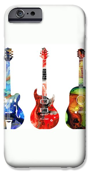 Guitar Threesome - Colorful Guitars By Sharon Cummings iPhone Case by Sharon Cummings