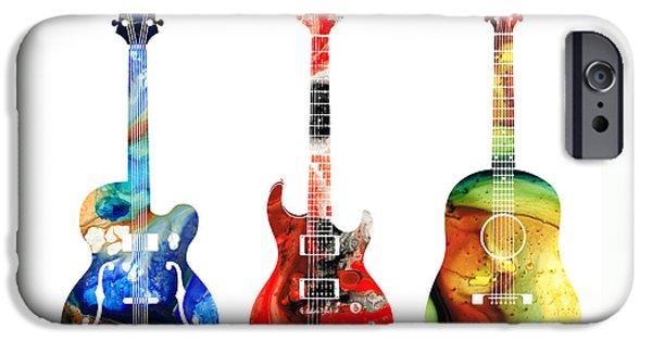 Antiques Mixed Media iPhone Cases - Guitar Threesome - Colorful Guitars By Sharon Cummings iPhone Case by Sharon Cummings