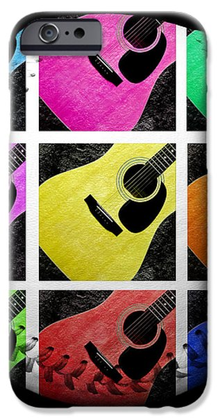 Guitar Tic Tac Toe White Baseball Square iPhone Case by Andee Design
