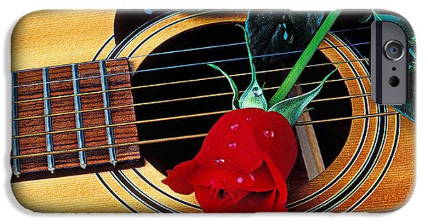 Guitar Strings iPhone Cases - Guitar with single red rose iPhone Case by Garry Gay