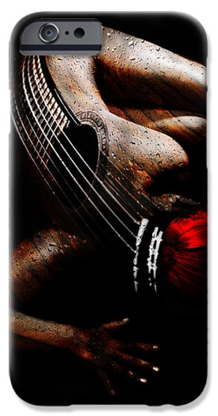 Strange Mixed Media iPhone Cases - Guitar Woman iPhone Case by Marian Voicu