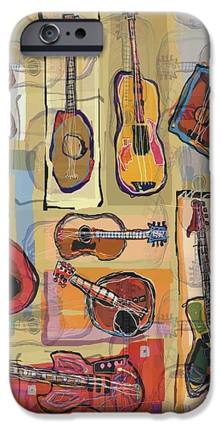 Lute Digital Art iPhone Cases - Guitars Hidden In A Library iPhone Case by Carl Mellick