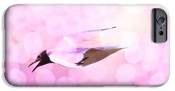 Flying Seagull iPhone Cases - Gull and nice bokhe iPhone Case by Toppart Sweden