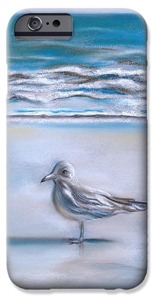 Seagull Pastels iPhone Cases - Gull on the Shore iPhone Case by MM Anderson