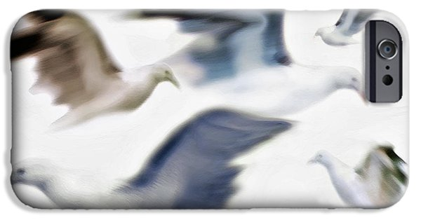 Flying Seagull Mixed Media iPhone Cases - Gulls 2 iPhone Case by Steve Ohlsen