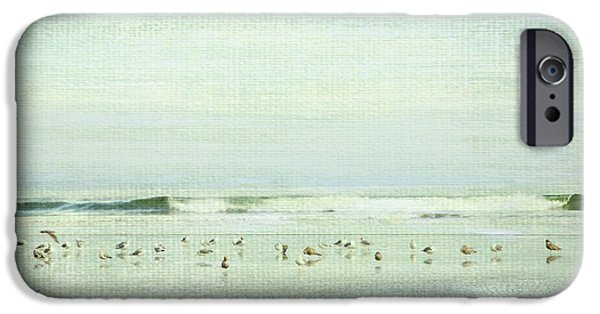 Seagull iPhone Cases - Gulls And Waves Green iPhone Case by Theresa Tahara