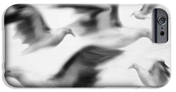 Flying Seagull Mixed Media iPhone Cases - Gulls iPhone Case by Steve Ohlsen