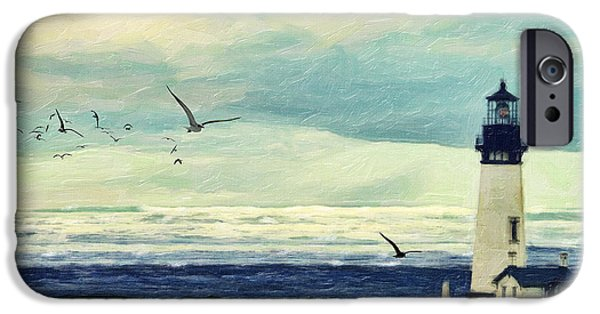 Lighthouse iPhone Cases - Gulls Way iPhone Case by Lianne Schneider