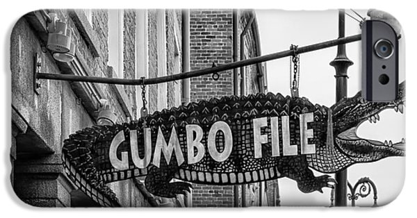 Sign iPhone Cases - Gumbo File Alligator - BW iPhone Case by Kathleen K Parker