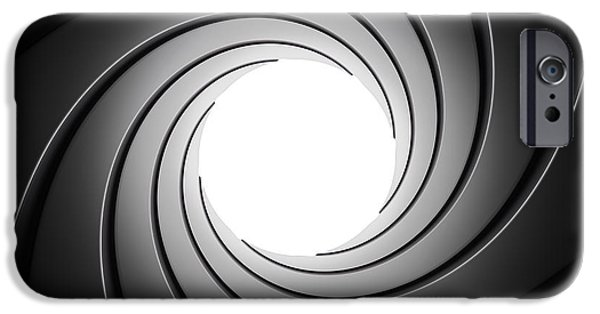 Circle Digital iPhone Cases - Gun Barrel from Inside iPhone Case by Johan Swanepoel