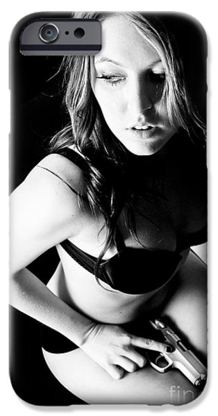 Suggestive Photographs iPhone Cases - Gun Lingerie iPhone Case by Jt PhotoDesign