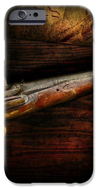 Gun - Pistol - Romance of pirateering iPhone Case by Mike Savad