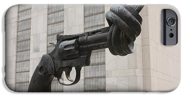 Nation iPhone Cases - Gun Sculpture, United Nations, Nyc iPhone Case by Mark Williamson