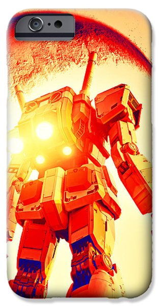 Recently Sold -  - Technology iPhone Cases - Gundam in Flight iPhone Case by Brady Barrineau