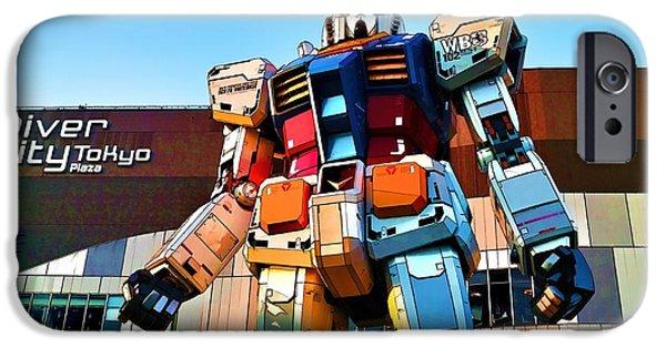 Toy Shop Digital iPhone Cases - Gundam Toon iPhone Case by Brady Barrineau