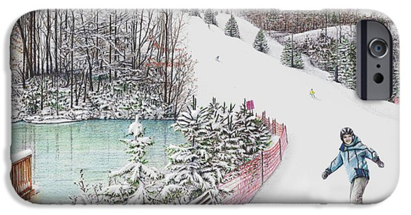 Skiing Art iPhone Cases - Gunnar Slope and The Ducky Pond iPhone Case by Albert Puskaric