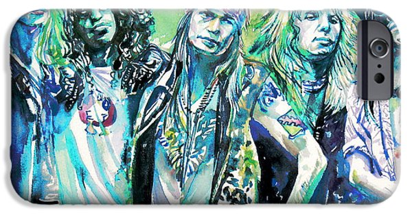 Slash Paintings iPhone Cases - GUNS N ROSES - watercolor portrait iPhone Case by Fabrizio Cassetta