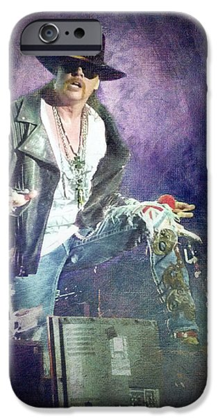 French Open iPhone Cases - Guns N Roses lead vocalist Axl Rose iPhone Case by Loriental Photography