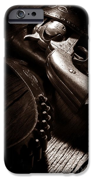Old Plank Tables Photographs iPhone Cases - Gunslinger Tool iPhone Case by American West Legend By Olivier Le Queinec