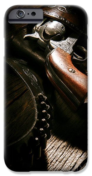Old Plank Tables Photographs iPhone Cases - Gunslinger Tool iPhone Case by Olivier Le Queinec