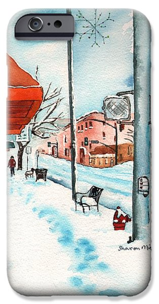 Dogs In Snow. Paintings iPhone Cases - Gurley Street Prescott Arizona On a Cold Winters Day Western Town iPhone Case by Sharon Mick