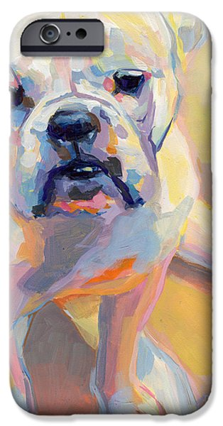 Bulldog iPhone Cases - Gus iPhone Case by Kimberly Santini