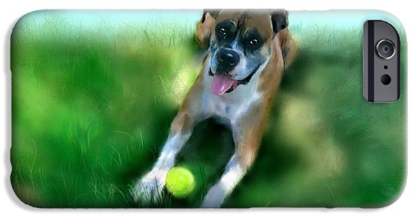 Dog Playing Ball iPhone Cases - Gus the Rescue Dog iPhone Case by Colleen Taylor