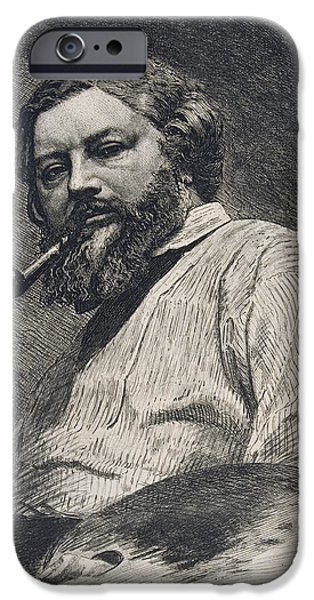 Works Drawings iPhone Cases - Gustave Courbet iPhone Case by Etienne Gabriel Bocourt