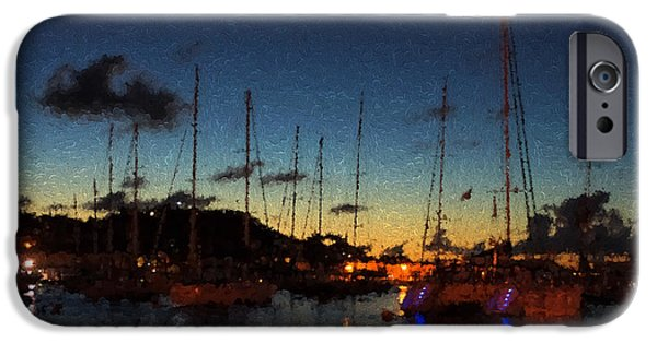 Night Lamp iPhone Cases - Gustavia St Barts Harbor Impressions iPhone Case by Georgia Mizuleva