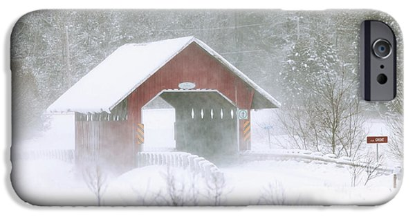 Winter Storm iPhone Cases - Guthrie Covered Bridge In Blowing Snow iPhone Case by Yves Marcoux